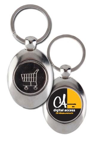 Schlüsselanhänger (oval) mit Ihrem Logo / Wunschmotiv